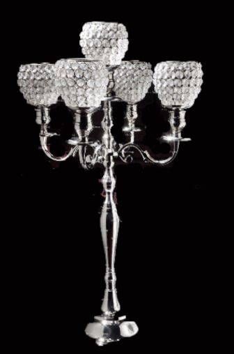 5 Arm Crystal Globe Votive Candelabra 75cm Wedding Party Centrepiece (2pcs)