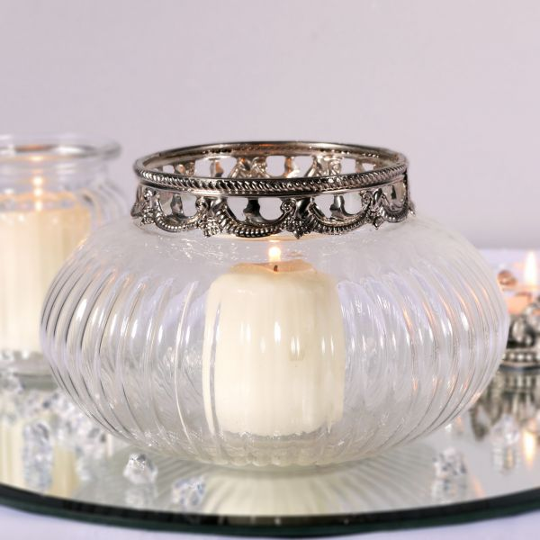 Bubble Glass Candle Holder with Metal Rim 10.5cm