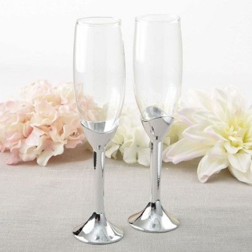 Champagne Classic Silver Stem Toasting Flute Set