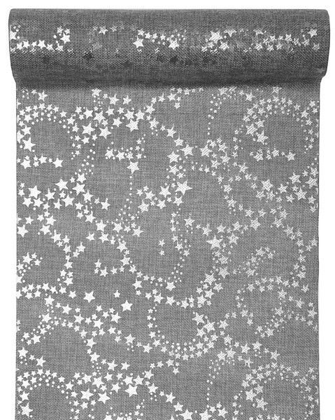 Christmas Silver Metallic Star Table Runner 3m