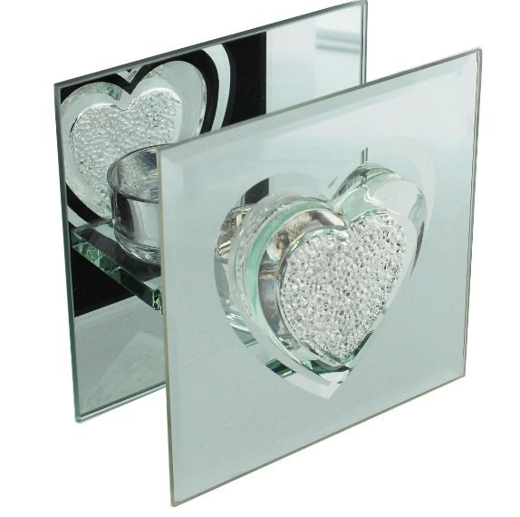 Crystal Heart Glass Mirror Tealight Candle Holder