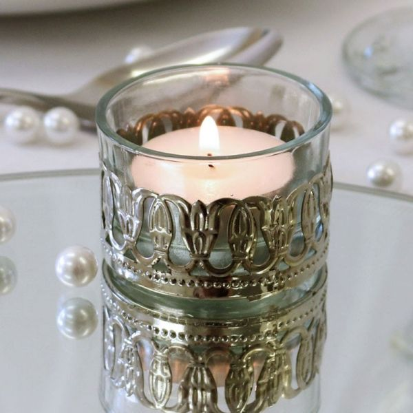 Glass Tealight Holder with Metal Detail 3.5cm