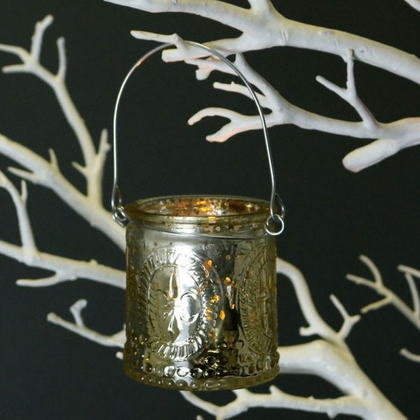 Gold Candle Holder with Wire Handle 7cm