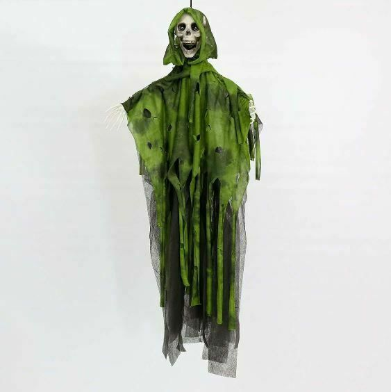 Halloween Battery Animated Green Reaper on with Light and Sound, 90cm