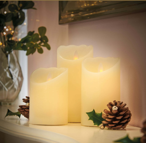 LED Flickering Wax LED Candles set of 3 11cm, 13cm & 15.5cm