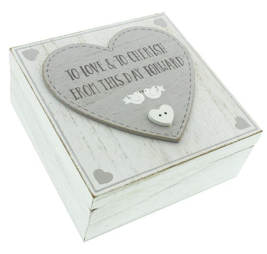 Love Story MDF Square Keepsake Box 'Love And Cherish'