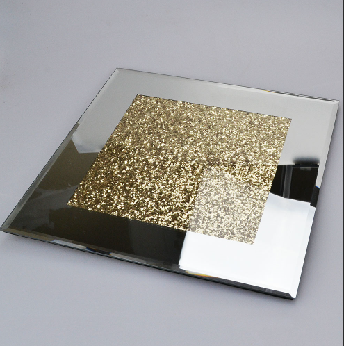 Mirrored Glass Gold Crush Diamond Candle Plate / Place Mat