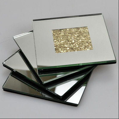 Mirrored Glass Gold Crush Diamond Coaster Set of four