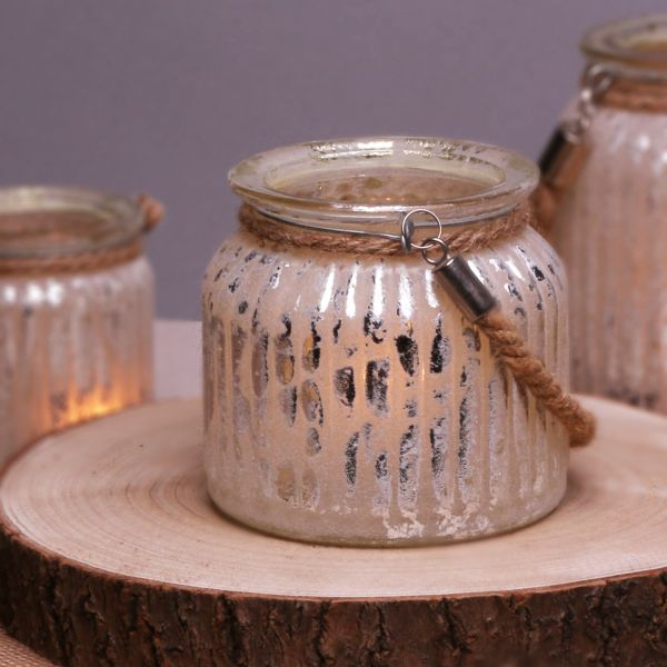 Rustic Vintage Glass Candle Holder with Rope Handle