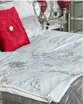 Silver and White Two Tone Sequin Throw