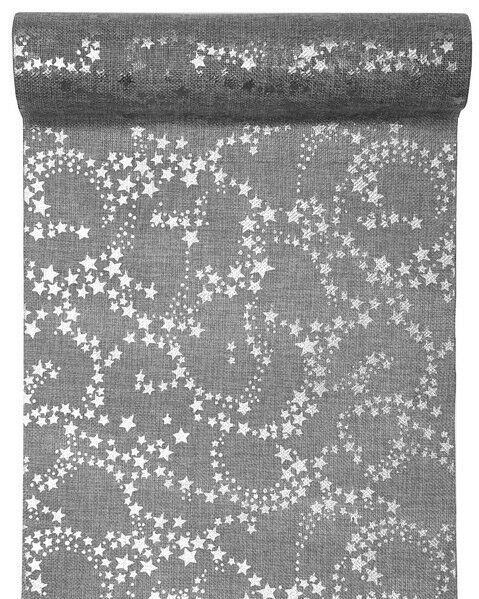 Silver Metallic Star Table Runner 3m