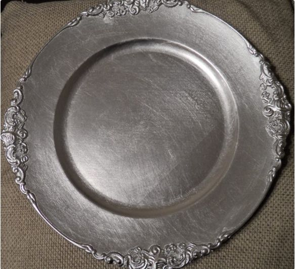 Silver Plastic Charger Plate with Antique Design Bulk set of 24 plates