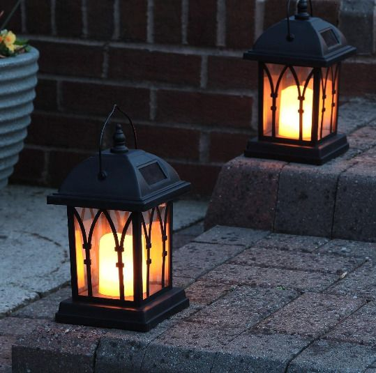 Solar Flickering LED Candle Lantern, 27cm