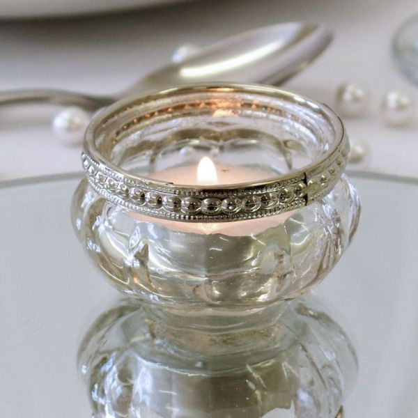 Tealight Holder with Metal Rim Decoration 3.5cm