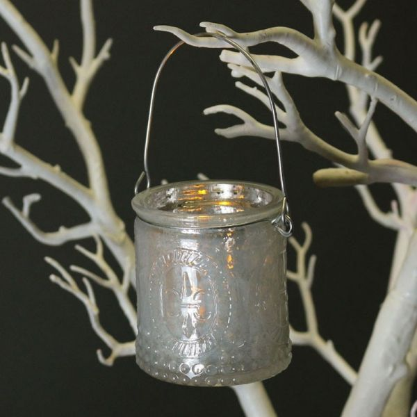 White Candle Holder with Wire Handle